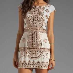 Renzo + Kai Ivory Lola-Lola Beaded Silk Dress S